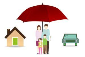 Assurance, Famille, Parapluie, Maison, Accueil, Voiture